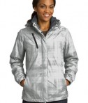 Port Authority L320 Ladies Brushstroke Print Insulated Jacket White