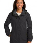 Port Authority L322 Ladies Cascade Waterproof Jacket Black/Magnetic Grey