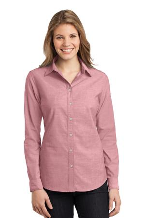 Port Authority L653 Ladies Chambray Shirt Barn Red