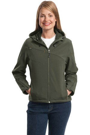 Port Authority L706 Ladies Hooded Soft Shell Jacket Mineral Green/Soft Orange