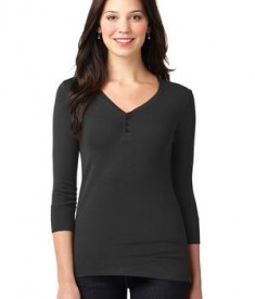Port Authority Ladies Concept Stretch 3/4-Sleeve Scoop Henley Style LM1007