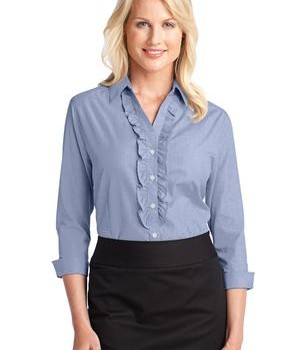 Port Authority Ladies Crosshatch Ruffle Easy Care Shirt Style L644 1