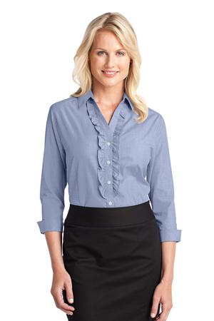 Port Authority Ladies Crosshatch Ruffle Easy Care Shirt Style L644