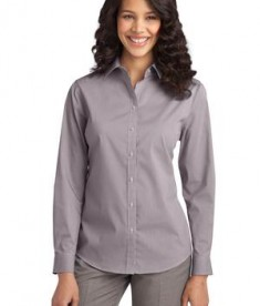 Port Authority Ladies Fine Stripe Stretch Poplin Shirt Style L647