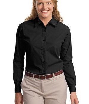 Port Authority Ladies Long Sleeve Easy Care  Soil Resistant Shirt Style L607 1