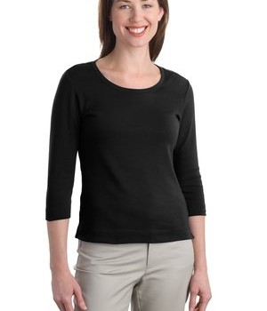 Port Authority Ladies Modern Stretch Cotton 3/4-Sleeve Scoop Neck Shirt Style L517 1