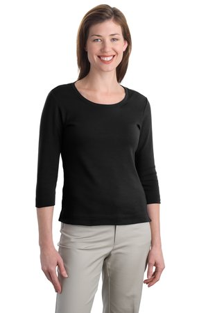 Port Authority Ladies Modern Stretch Cotton 3/4-Sleeve Scoop Neck Shirt Style L517
