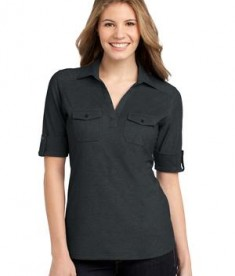 Port Authority Ladies Oxford Pique Double Pocket Polo Style L557