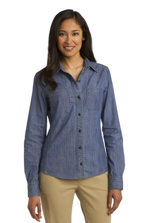 Port Authority Ladies Patch Pockets Denim Shirt Style L652