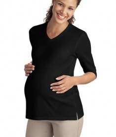 Port Authority Ladies Silk Touch Maternity 3/4-Sleeve V-Neck Shirt Style L561M