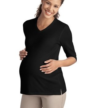 Port Authority Ladies Silk Touch Maternity 3/4-Sleeve V-Neck Shirt Style L561M 1