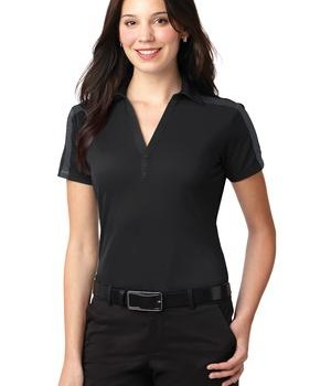 Port Authority Ladies Silk Touch Performance Colorblock Stripe Polo Style L547 1