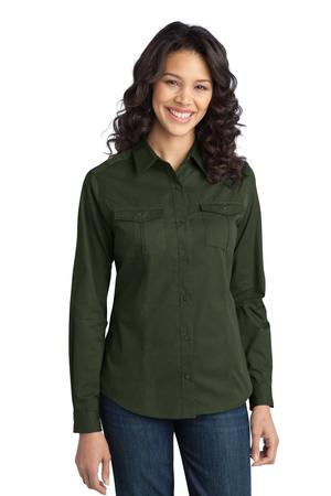 Port Authority Ladies Stain-Resistant Roll Sleeve Twill Shirt Style L649 1