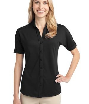Port Authority Ladies Stretch Pique Button-Front Shirt Style L556 1