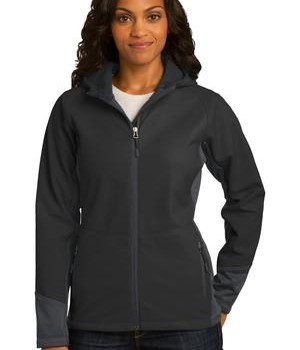 Port Authority Ladies Vertical Hooded Soft Shell Jacket Style L319 1