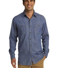 Port Authority Patch Pockets Denim Shirt Style S652