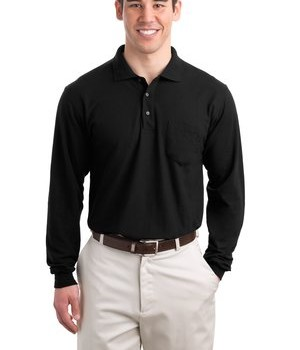 Port Authority Tall Silk Touch Long Sleeve Polo with Pocket Style TLK500LSP 1