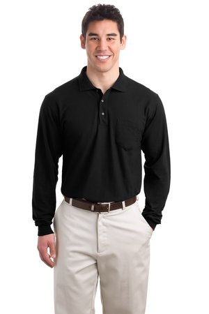 Port Authority Tall Silk Touch Long Sleeve Polo with Pocket Style TLK500LSP