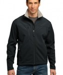 Port Authority TLJ790 Tall Size Glacier Soft Shell Jacket Black/Chrome