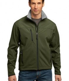Port Authority TLJ790 Tall Size Glacier Soft Shell Jacket Olive/Chrome