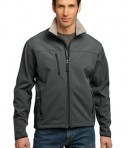 Port Authority TLJ790 Tall Size Glacier Soft Shell Jacket Smoke Grey/Chrome