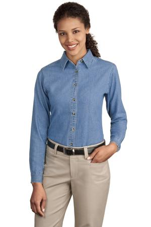 Port & Company – Ladies Long Sleeve Value Denim Shirt Style LSP10 1