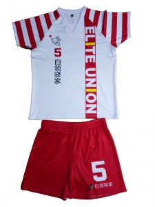red and white volleyball sublimation uniform-front