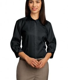 Red House - Ladies 3/4-Sleeve Dobby Non-Iron Button-Down Shirt Style RH61