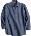 Red Kap Long Size  Long Sleeve Striped Industrial Work Shirt Style CS10LONG