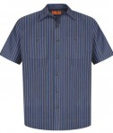 Red Kap - Short Sleeve Striped Industrial Work Shirt Style CS20