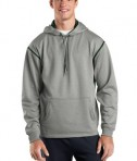 Sport-Tek F246 Tech Fleece Hooded Sweatshirt Grey Heather/Forest Green
