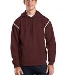 Sport-Tek F246 Tech Fleece Hooded Sweatshirt Maroon/White