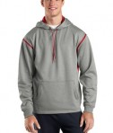 Sport-Tek F246 Tech Fleece Hooded Sweatshirt Grey Heather/True Red