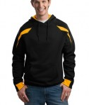 Sport-Tek F266 Color-Spliced Pullover Hooded Sweatshirt Athletic Gold/Black
