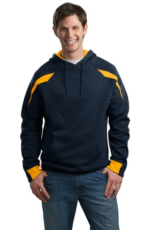 Sport-Tek F266 Color-Spliced Pullover Hooded Sweatshirt Athletic Gold/Navy