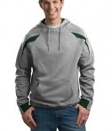 Sport-Tek F266 Color-Spliced Pullover Hooded Sweatshirt Athletic Heather/Forest Green