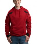 Sport-Tek F266 Color-Spliced Pullover Hooded Sweatshirt Red/Black
