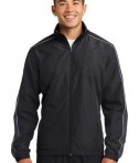 Sport-Tek JST61 Piped Colorblock Wind Jacket Black/Graphite Grey/White
