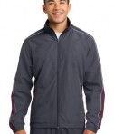 Sport-Tek JST61 Piped Colorblock Wind Jacket Graphite Grey/Maroon/White
