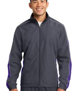 Sport-Tek JST61 Piped Colorblock Wind Jacket Graphite Grey/Purple/White