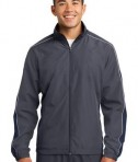 Sport-Tek JST61 Piped Colorblock Wind Jacket Graphite Grey/True Navy/White