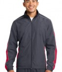 Sport-Tek JST61 Piped Colorblock Wind Jacket Graphite Grey/True Red/White