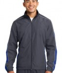 Sport-Tek JST61 Piped Colorblock Wind Jacket Graphite Grey/True Royal/White