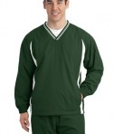 Sport-Tek JST62 Tipped V-Neck Raglan Wind Shirt Forest Green/White