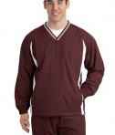 Sport-Tek JST62 Tipped V-Neck Raglan Wind Shirt Maroon/White