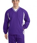 Sport-Tek JST62 Tipped V-Neck Raglan Wind Shirt Purple/White