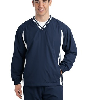 Sport-Tek JST62 Tipped V-Neck Raglan Wind Shirt True Navy/White
