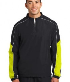 Sport-Tek JST64 Piped Colorblock 1/4-Zip Wind Shirt Black/Citron/White