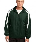 Sport-Tek JST81 Fleece-Lined Colorblock Jacket Forest Green/White