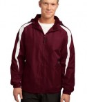 Sport-Tek JST81 Fleece-Lined Colorblock Jacket Maroon/White